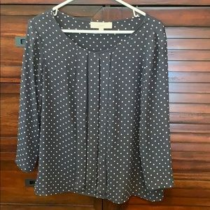 Loft 3/4 sleeve polka dot blouse